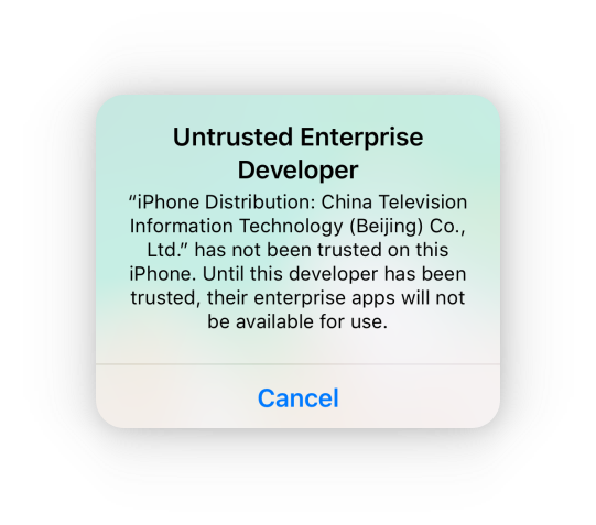 """After successful installation, When you try to open it, probably you'll see a notification of """"Untrusted Enterprise Developer"""""""
