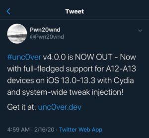 The New unc0ver jailbreak for iOS 13.3 released-v4.0.0