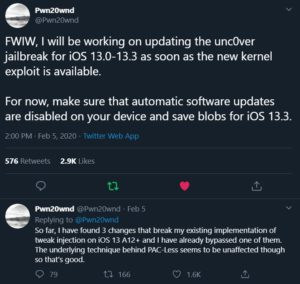 """""""FWIW, I will be working on updating the unc0ver jailbreak for iOS 13.0-13.3 as soon as the new kernel exploit is available. For now, make sure that automatic software updates are disabled on your device and save blobs for iOS 13.3."""""""